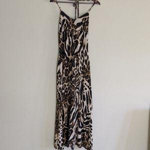 Leopard Print Animal Print Halter Maxi Dress